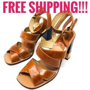 Michael Kors Brown Leather Criss Cross Sandals 9M